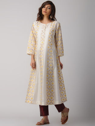 Ivory Handwoven Chanderi-Cotton Kali Kurta with Embroidery