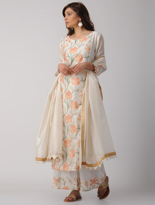 Ivory Handwoven Chanderi-Cotton Kurta with Embroidery