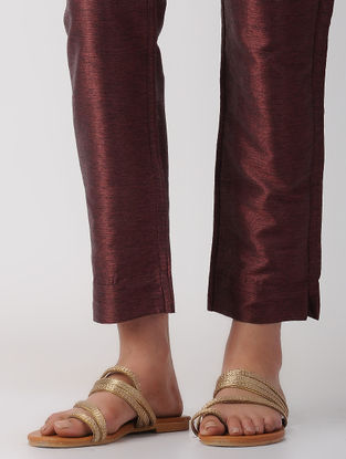 Plum Tie-up Waist Silk Pants