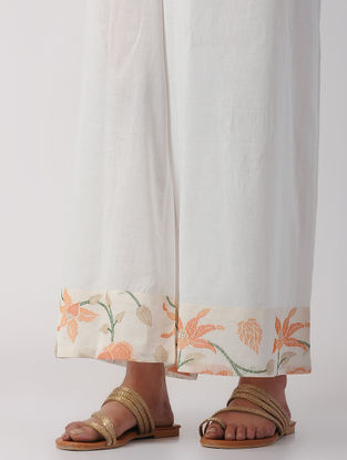 Ivory Tie-up Waist Cotton Palazzos with Embroidery