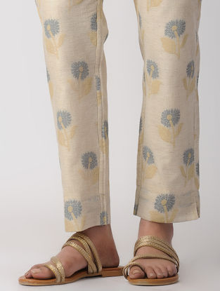 Beige Handwoven Tie-up Waist Linen Jacquard-Cotton Pants