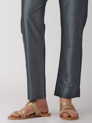 Grey Tie-up Waist Silk Pants