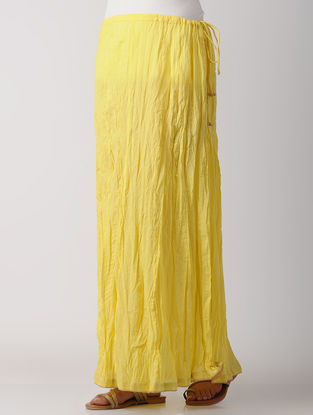 Yellow Crinkled Cotton Skirt
