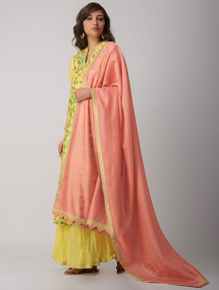 Peach Handwoven Chanderi Dupatta