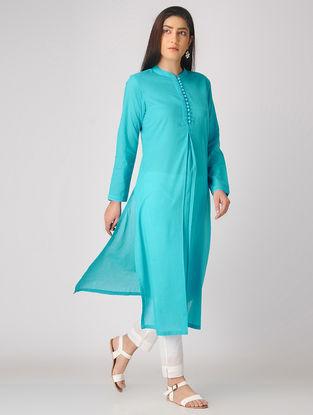 Turquoise Cotton Kurta with Potli Button