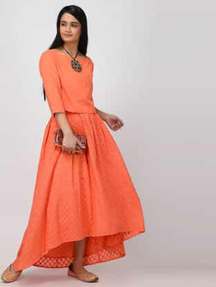 Orange Tie-up Waist Banarasi Cutwork Cotton Skirt