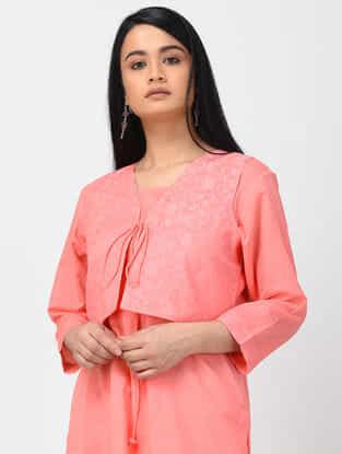 Peach Banarasi Cutwork Cotton Jacket