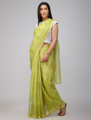 Green Block-printed Kota Silk Saree with Zari Border
