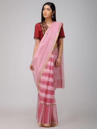 Pink Block-printed Kota Silk Saree with Zari Border