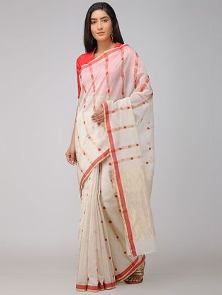 Ivory-Red Chanderi Saree with Zari
