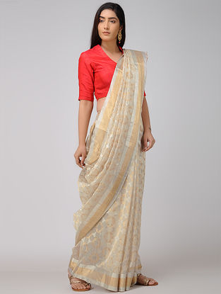Ivory Chanderi Saree with Zari