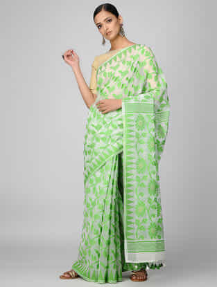 Green-Ivory Cotton Mul Saree with Tassels