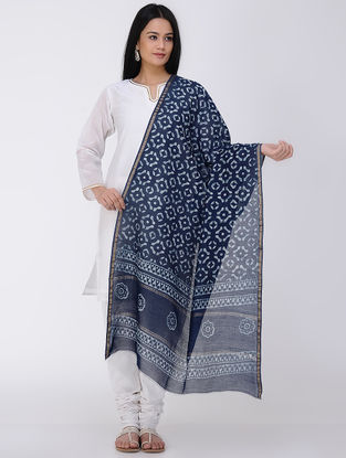 Indigo-White Natural-dyed Block-printed Maheshwari Dupatta with Zari Border