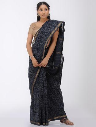Indigo-Grey Natural-dyed Block-printed Maheshwari Saree with Zari Border