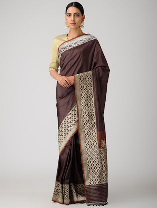 Burgundy Benarasi Silk Saree