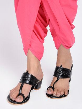 Black Leather Kohlapuri Box Heels