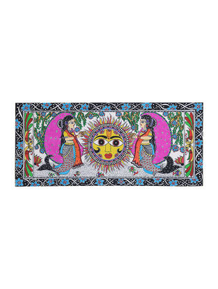 Mermaid with Sun Madhubani Painting - 10in x 22.2in