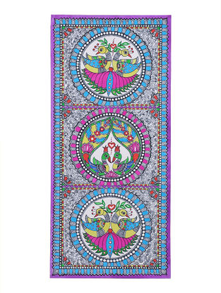 Twin Peacocks Madhubani Painting - 22.2in x 10.2in