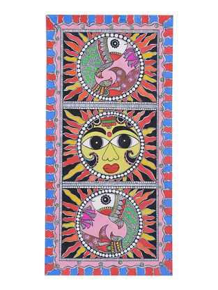 Fishes with Sun Madhubani Painting - 15.2in x 7.5in