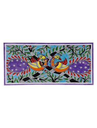 Twin Peacocks Madhubani Painting - 7.2in x 15in