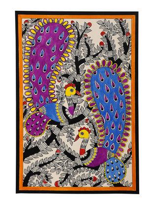 Twin Peacocks Madhubani Painting - 11in x 7.5in