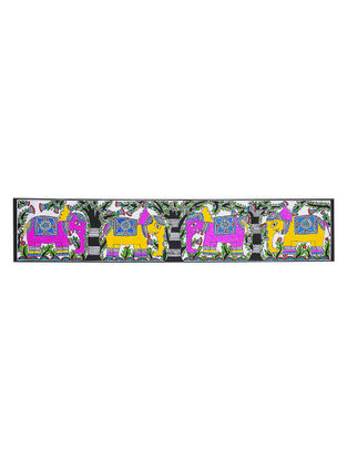 Elephants Madhubani Painting - 5.5in x 28in