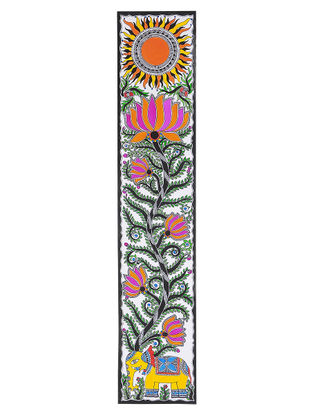 Elephant, Lotus and Sun Madhubani Painting - 28in x 5.5in