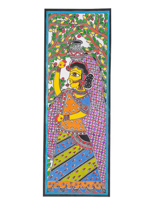Lady with Pot Madhubani Painting - 18in x 6.5in