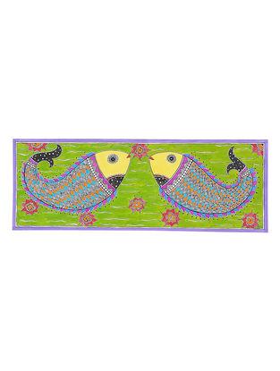 Twin Fish Madhubani Painting - 6.5in x 17.6in