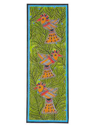 Birds Madhubani Painting - 18in x 6.5in