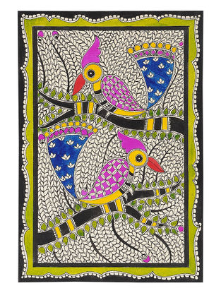 Birds on Tree Madhubani Painting - 11in x 7.5in