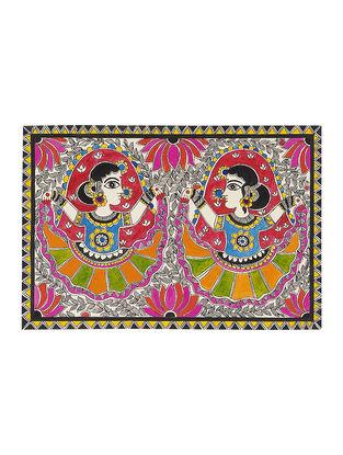 Dancing Women Madhubani Painting - 7.5in x 11.2in