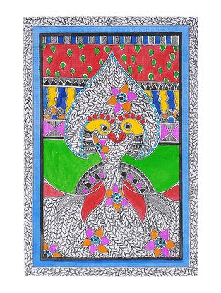 Twin Peacocks Madhubani Painting - 11.2in x 7.5in