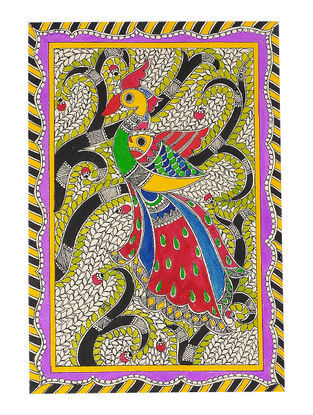 Peacock Madhubani Painting - 11in x 7.6in