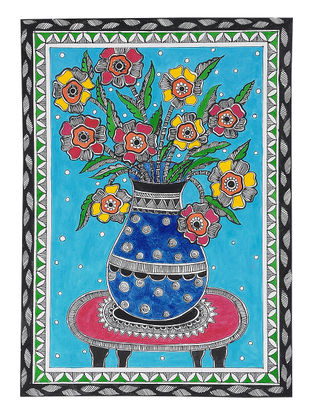 Flowers in the Pot Madhubani Painting - 12.5in x 9in