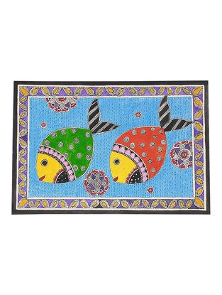 Twin Fish Madhubani Painting - 7.5in x 11in