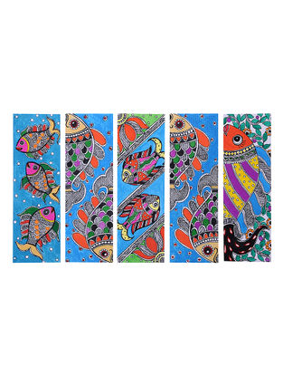 Madhubani Painting Bookmark (Set of 5) -6in x 2in