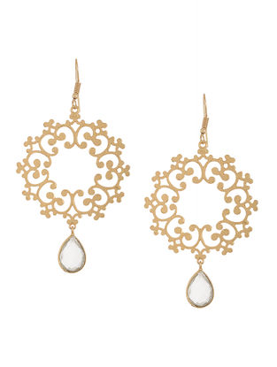 White Gold-Plated Crystal Earrings