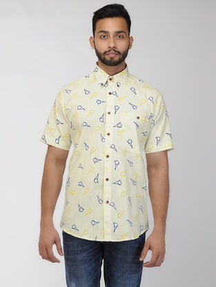 Blue-Yellow Block-printed Khadi Half Sleeve Shirt