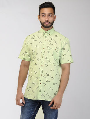 Green Block-printed Khadi Half Sleeve Shirt