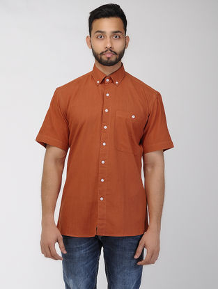 Rust Khadi Half Sleeve Shirt