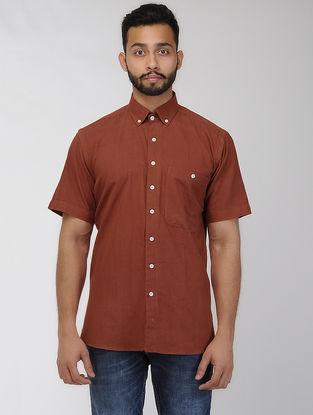 Maroon Khadi Half Sleeve Shirt