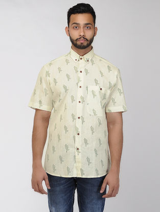 Beige-Green Block-printed Khadi Half Sleeve Shirt