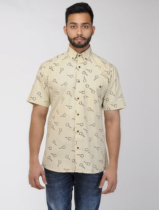 Beige-Black Block-printed Khadi Half Sleeve Shirt