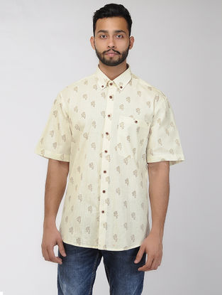 Beige-Brown Block-printed Khadi Half Sleeve Shirt