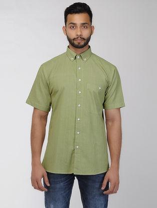 Olive Khadi Half Sleeve Shirt