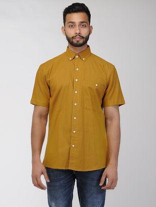 Mustard Khadi Half Sleeve Shirt
