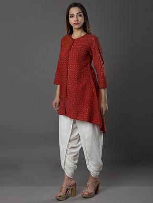 Red Ajrakh-printed Cambric Kurta