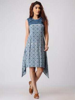 Indigo Block-printed Cotton Dress with Asymmetrical Hem