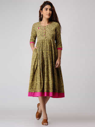 Green-Mustard Block-printed Pleated Cotton Dress